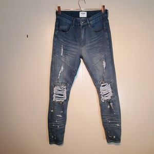 KDNK Men's Distressed Straight Leg Jean's